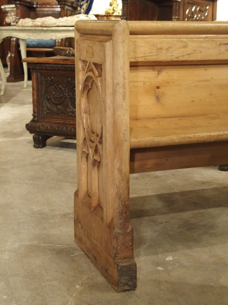 Antique French Gothic Chapel Pew Bench, 19th Century For Sale 4