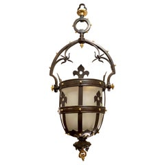 Antique French Gothic Patinated Bronze Lantern, circa 1900