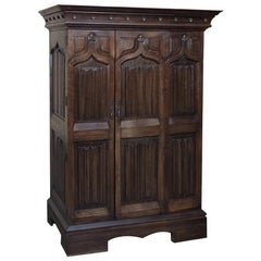 Antique French Gothic Solid Walnut Armoire, Bonnetiere