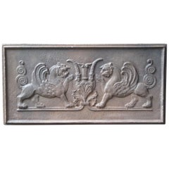 Antique French Gothic Style 'Griffins' Fireback, 18th-19th Century