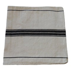 Antique French Grain Sack with Black and Natural Stripes