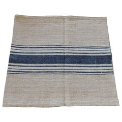 Antique French Grain Sack with Double Blue and Natural Stripes