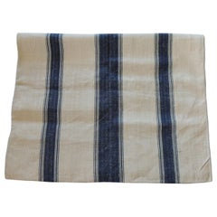 Antique French Grain Sack with Indigo and Natural Stripes