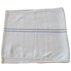 Antique French Grain Sack with Parallel Blue and Natural Stripes