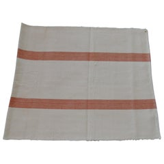 Antique French Grain Sack with Parallel Orange and Natural Stripes