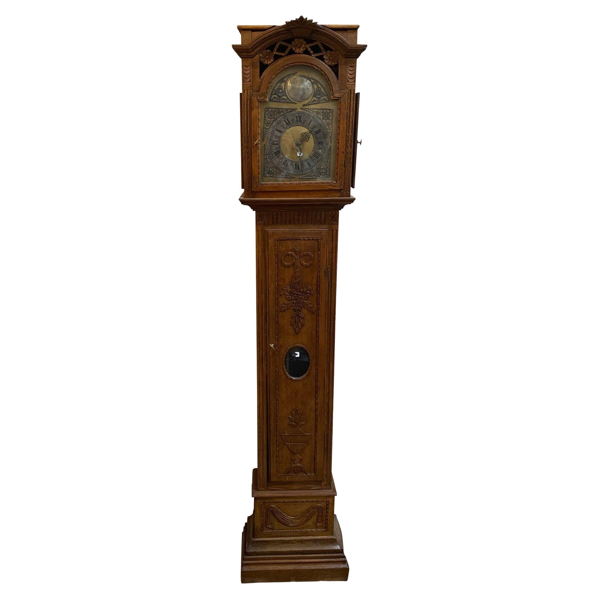 Antique Belgium Grandfather Clock, circa 1850