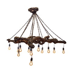 Antique French Grapevine and Chain Chandelier with Edison Bulbs