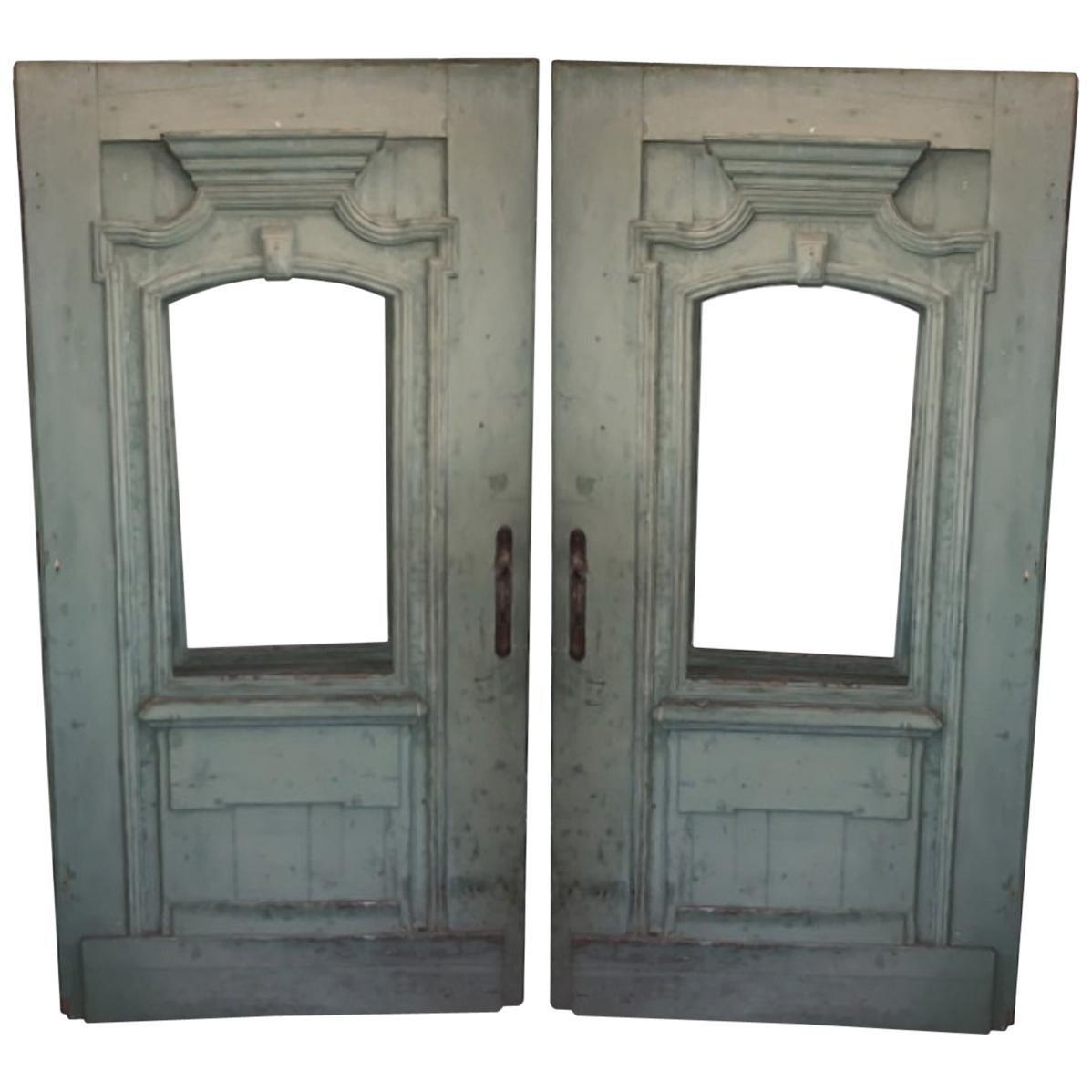 Antique French Green Door