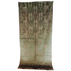 Antique French Green Silk Velvet Gaufrage Drapery Panel