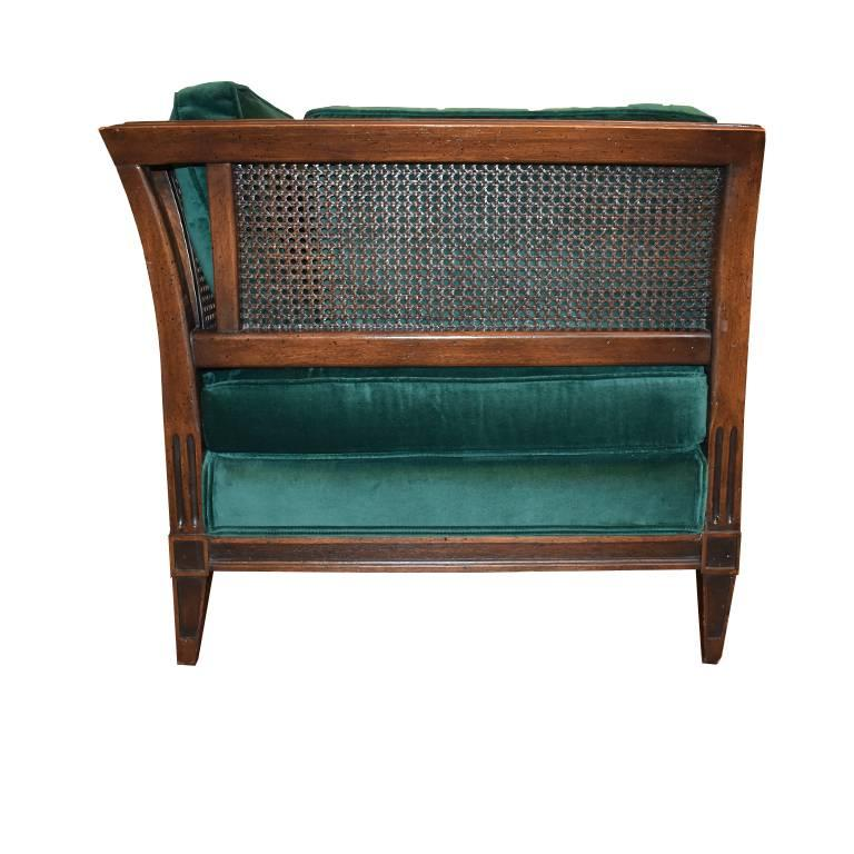 French Provincial Antique French Green Velvet Wood Sofa with Cane Detail For Sale