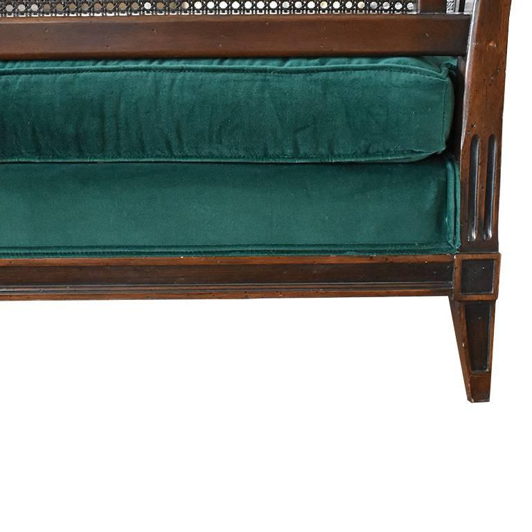 Antique French Green Velvet Wood Sofa with Cane Detail In Good Condition For Sale In Oklahoma City, OK