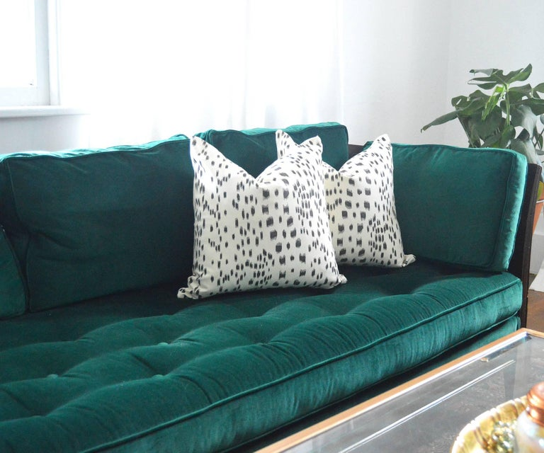 Antique French Green Velvet Wood Sofa with Cane Detail For Sale 1