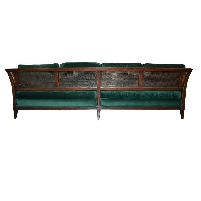 Antique French Green Velvet Wood Sofa with Cane Detail For Sale 2