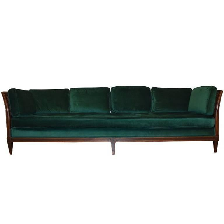 Antique French Green Velvet Wood Sofa with Cane Detail For Sale
