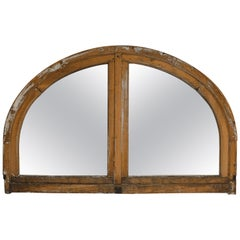 Antique French Half Round Window Casement/ Mirror