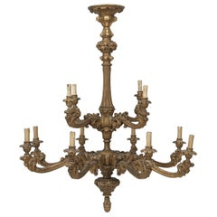 Antique French Hand Carved and Gilded Wood Chandelier