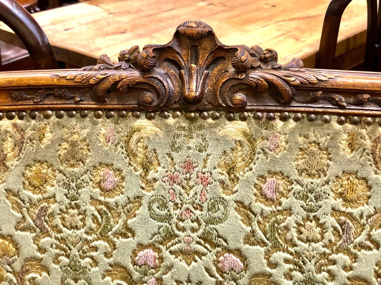 Antique French Hand Carved Fruitwood Louis XV Style Sofa or Loveseat, Cut Velvet For Sale 5