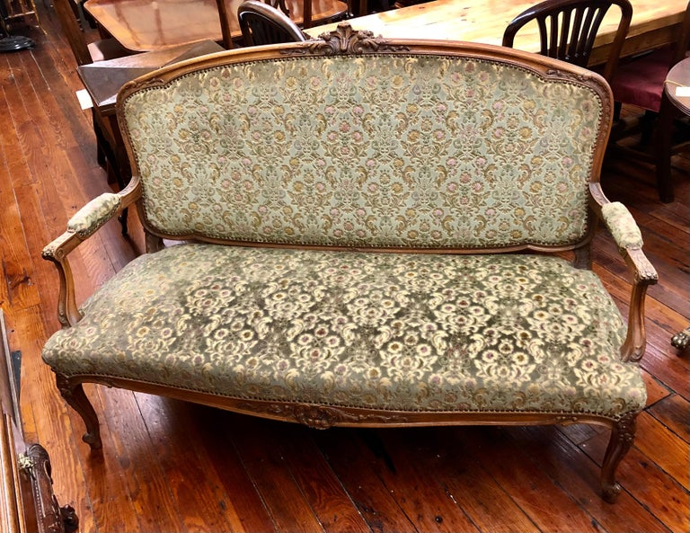 Hand-Carved Antique French Hand Carved Fruitwood Louis XV Style Sofa or Loveseat, Cut Velvet For Sale