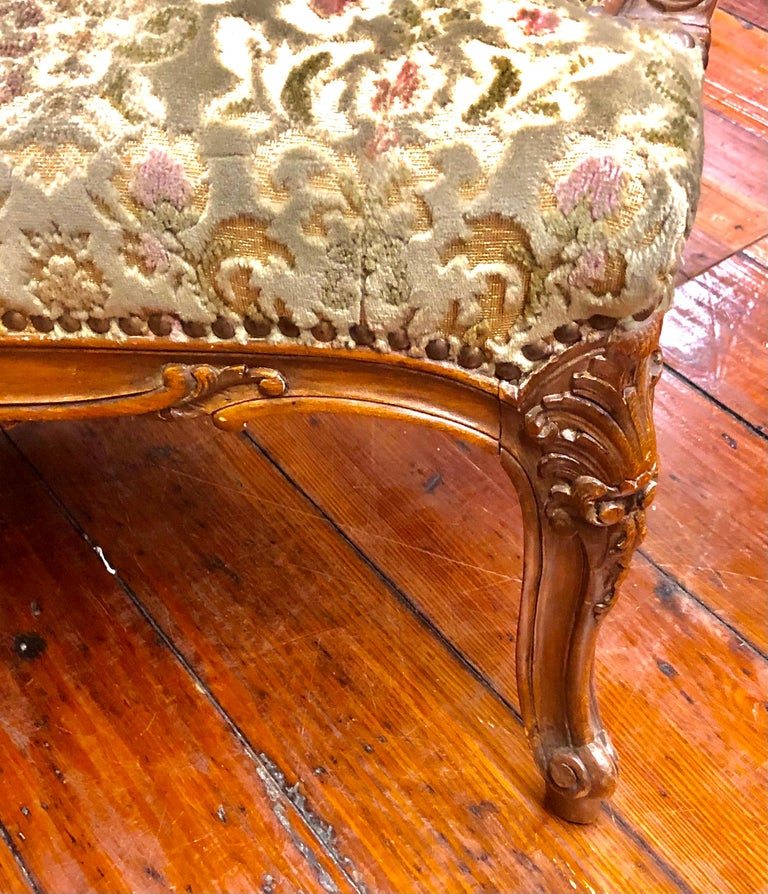 Antique French Hand Carved Fruitwood Louis XV Style Sofa or Loveseat, Cut Velvet For Sale 1