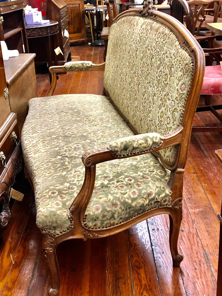Antique French Hand Carved Fruitwood Louis XV Style Sofa or Loveseat, Cut Velvet For Sale 2