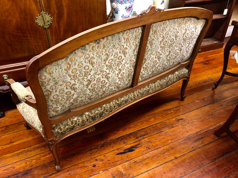 Antique French Hand Carved Fruitwood Louis XV Style Sofa or Loveseat, Cut Velvet For Sale 3