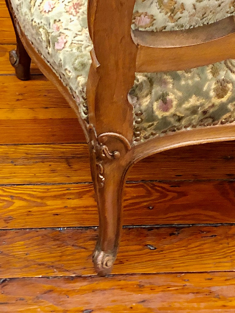 Antique French Hand Carved Fruitwood Louis XV Style Sofa or Loveseat, Cut Velvet For Sale 4