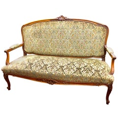 Antique French Hand Carved Fruitwood Louis XV Style Sofa or Loveseat, Cut Velvet