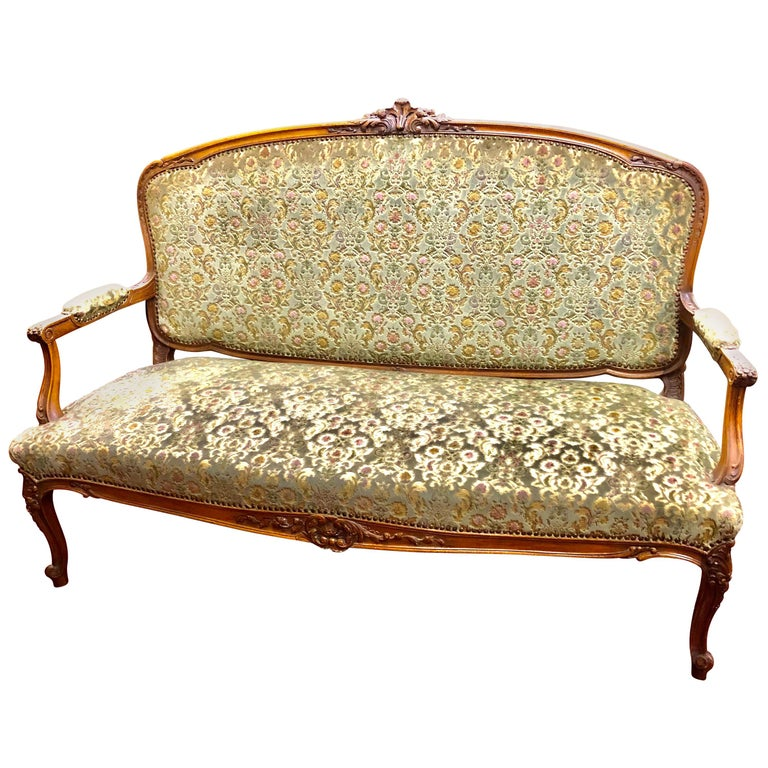 Antique French Hand Carved Fruitwood Louis XV Style Sofa or Loveseat, Cut Velvet For Sale