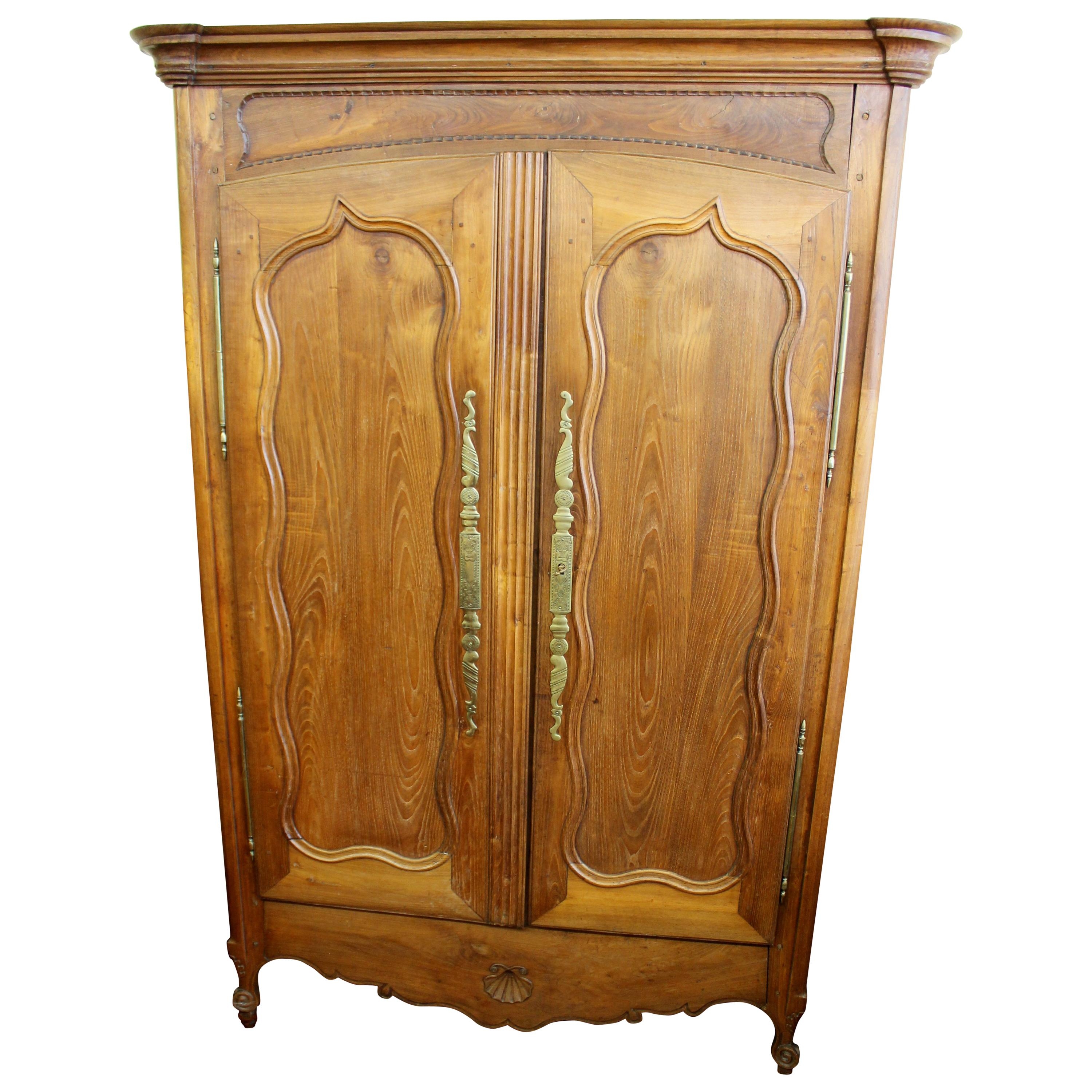 Antique French Hand-Carved Louis XV Style Fruitwood Armoire