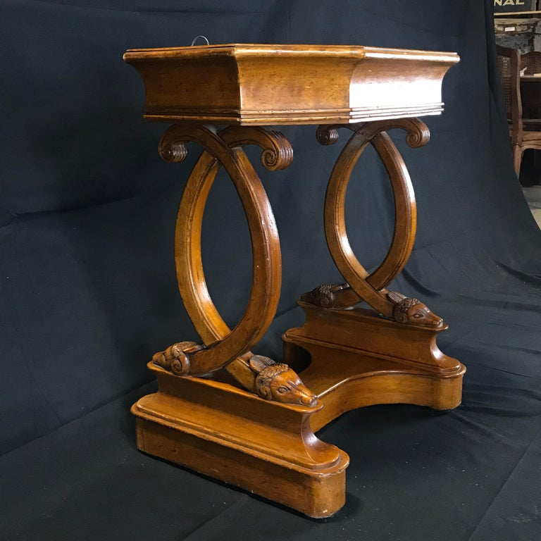 Antique French Hand Carved Sheepshead Walnut Planter Table For Sale 4