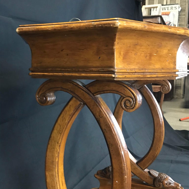 Zinc Antique French Hand Carved Sheepshead Walnut Planter Table For Sale