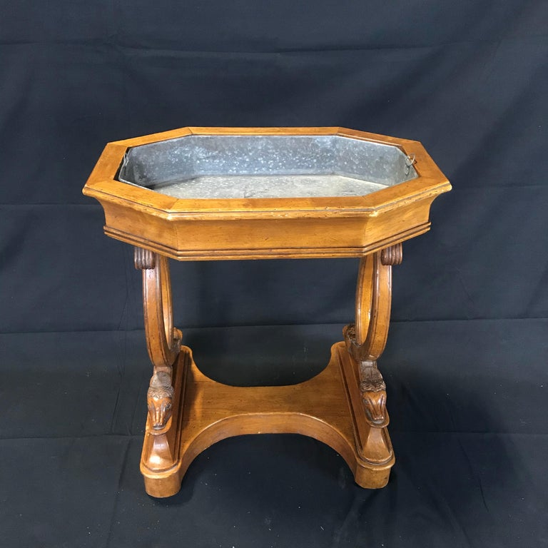 Antique French Hand Carved Sheepshead Walnut Planter Table For Sale 2