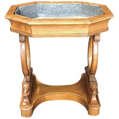 Antique French Hand Carved Sheepshead Walnut Planter Table