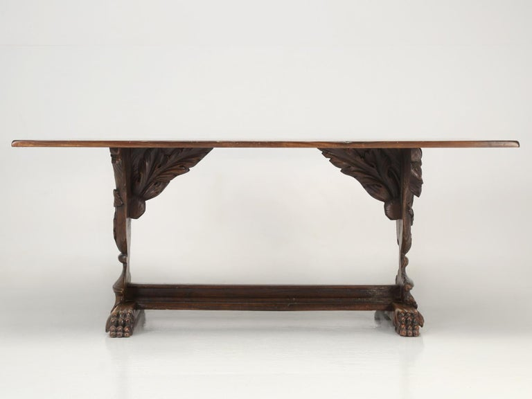 Antique French Hand Carved Solid Walnut Trestle Dining Table Restored For Sale 8