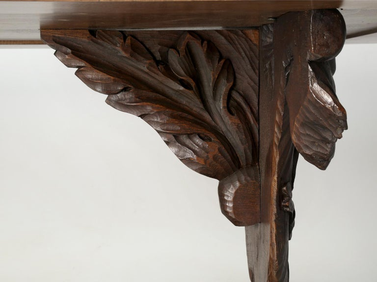 Antique French Hand Carved Solid Walnut Trestle Dining Table Restored For Sale 9