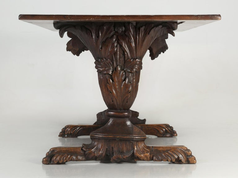 Antique French Hand Carved Solid Walnut Trestle Dining Table Restored For Sale 12