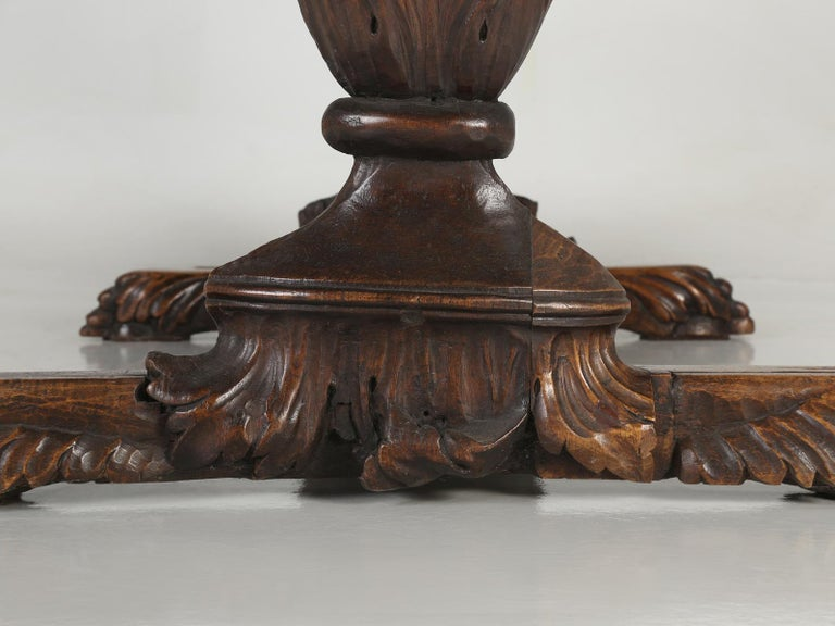 Antique French Hand Carved Solid Walnut Trestle Dining Table Restored For Sale 14