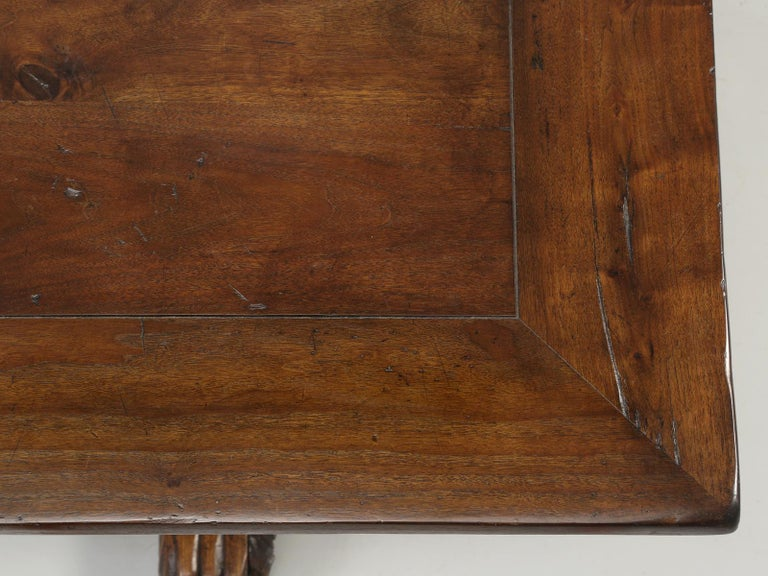 Black Forest Antique French Hand Carved Solid Walnut Trestle Dining Table Restored For Sale
