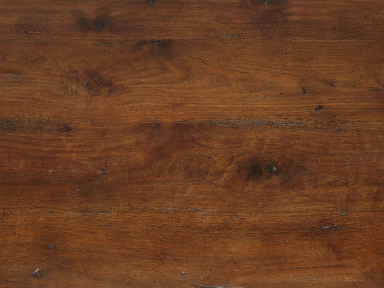 Hand-Carved Antique French Hand Carved Solid Walnut Trestle Dining Table Restored For Sale
