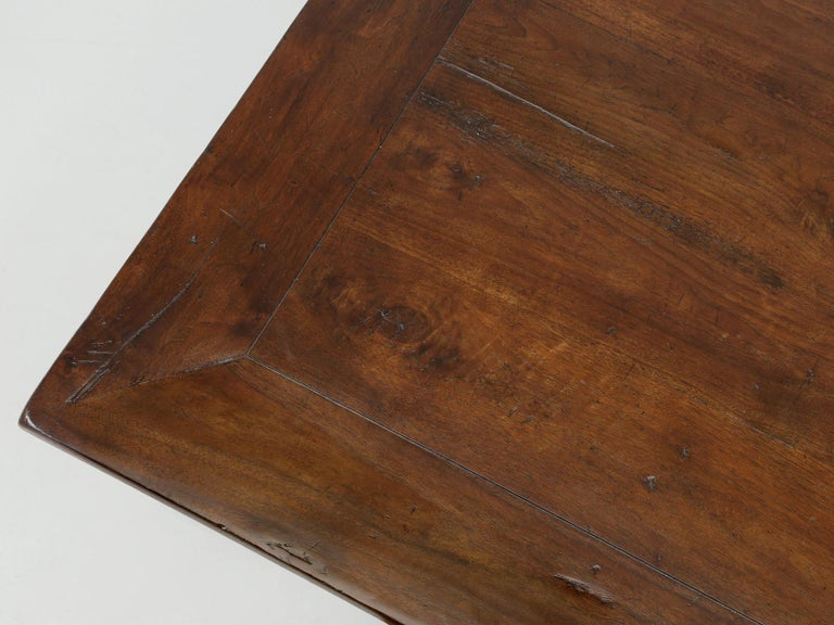 Antique French Hand Carved Solid Walnut Trestle Dining Table Restored In Good Condition For Sale In Chicago, IL