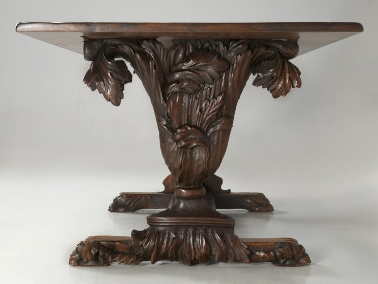 Late 18th Century Antique French Hand Carved Solid Walnut Trestle Dining Table Restored For Sale