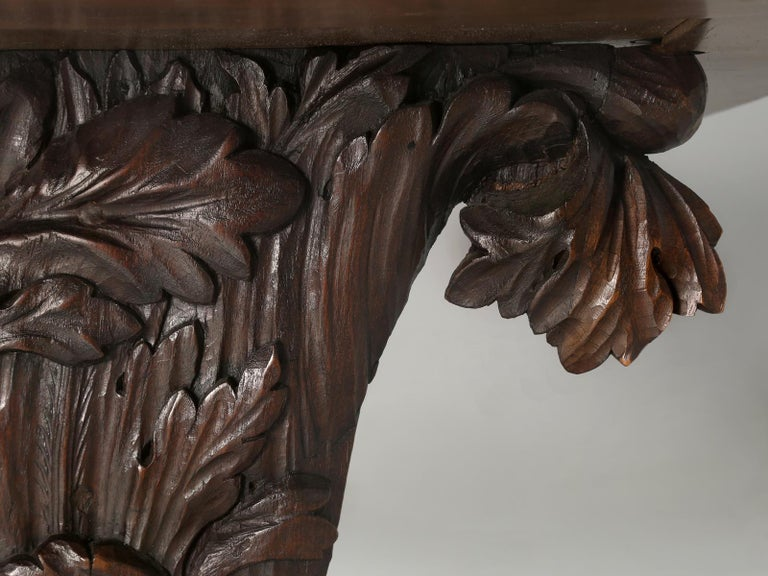 Antique French Hand Carved Solid Walnut Trestle Dining Table Restored For Sale 1