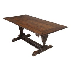 Antique French Hand Carved Solid Walnut Trestle Dining Table Restored