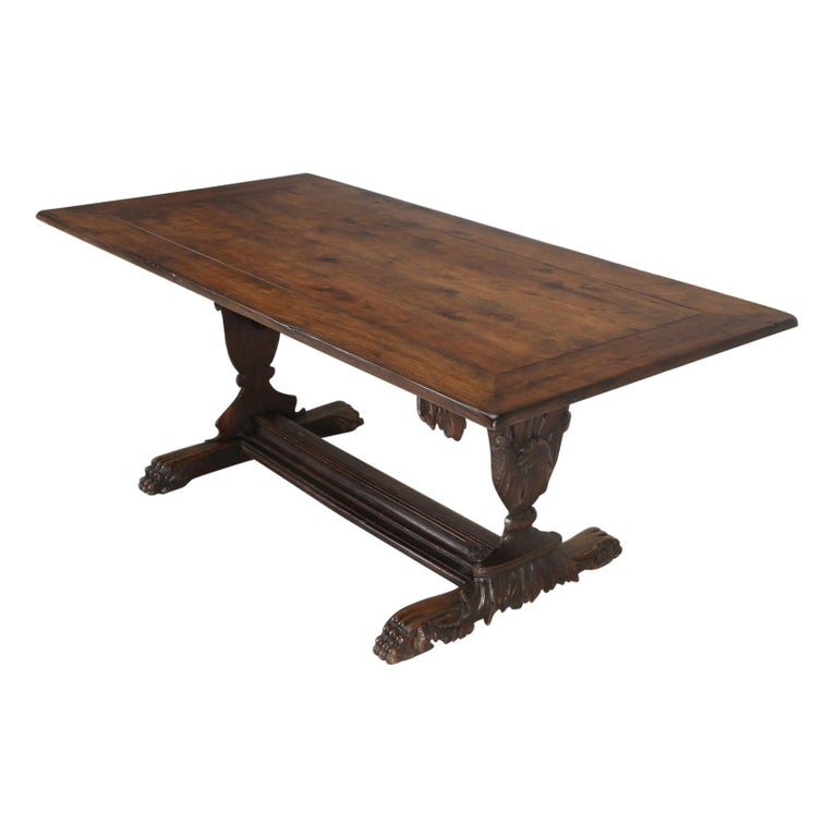 Antique French Hand Carved Solid Walnut Trestle Dining Table Restored For Sale