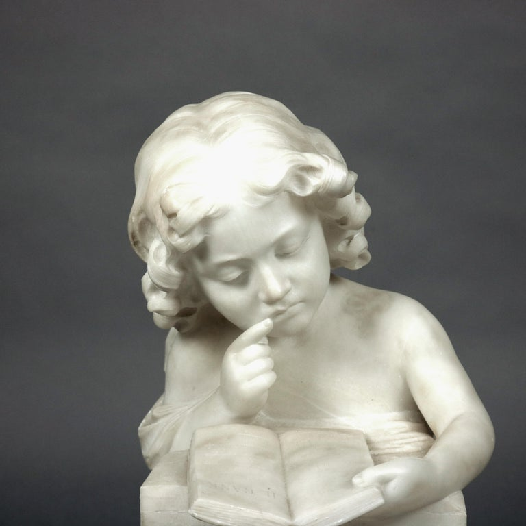 French Hand Carved Volterra Alabaster Portrait Sculpture Signed, circa 1890 For Sale 5