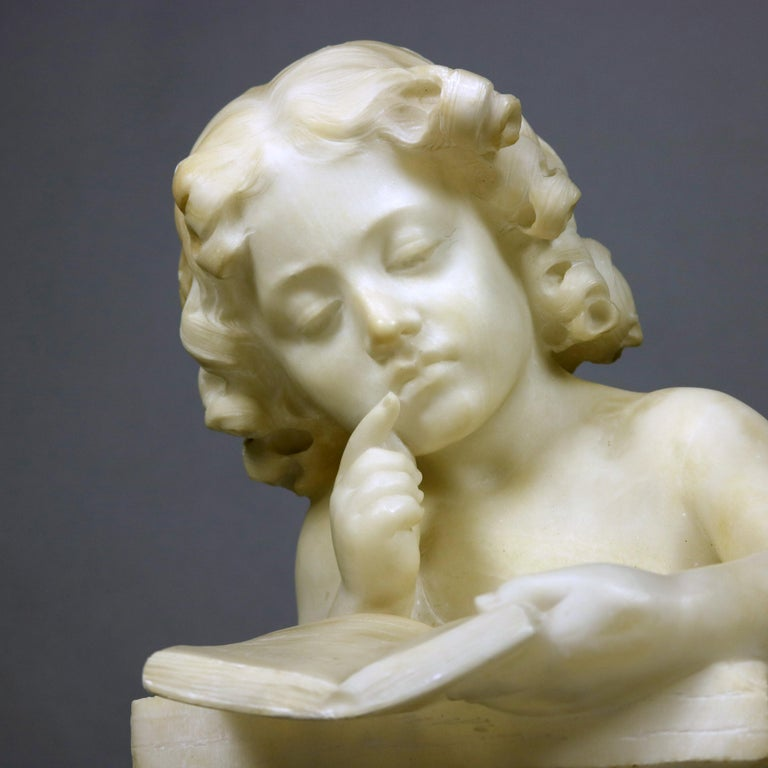 Renaissance French Hand Carved Volterra Alabaster Portrait Sculpture Signed, circa 1890 For Sale