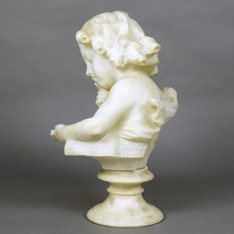 Italian French Hand Carved Volterra Alabaster Portrait Sculpture Signed, circa 1890 For Sale