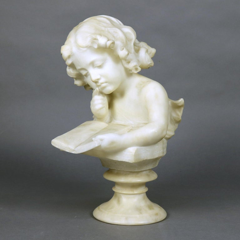 Hand-Carved French Hand Carved Volterra Alabaster Portrait Sculpture Signed, circa 1890 For Sale