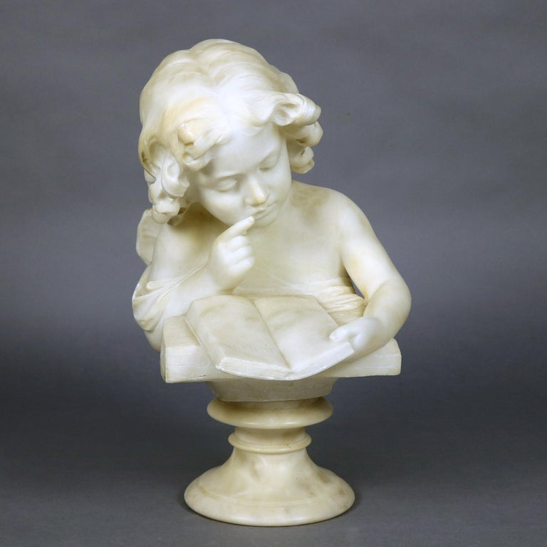 French Hand Carved Volterra Alabaster Portrait Sculpture Signed, circa 1890 For Sale 1