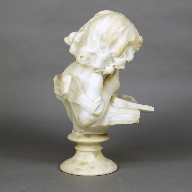 French Hand Carved Volterra Alabaster Portrait Sculpture Signed, circa 1890 For Sale 2